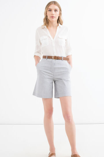 Solid colour stretch cotton shorts, White/Grey, hi-res
