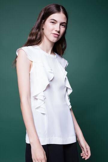 Sleeveless blouse with flounces, White, hi-res
