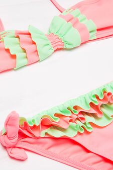Stretch bikini with contrasting colour flounces, Pink, hi-res