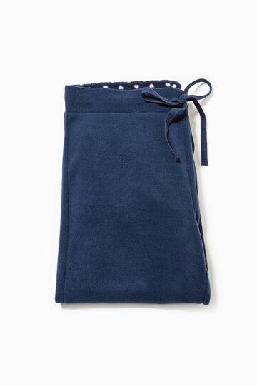 Fleece pyjama trousers with drawstring, Navy Blue, hi-res