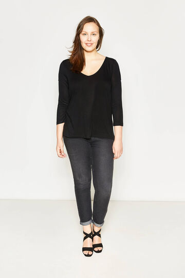 Curvy T-shirt with openings on the shoulders