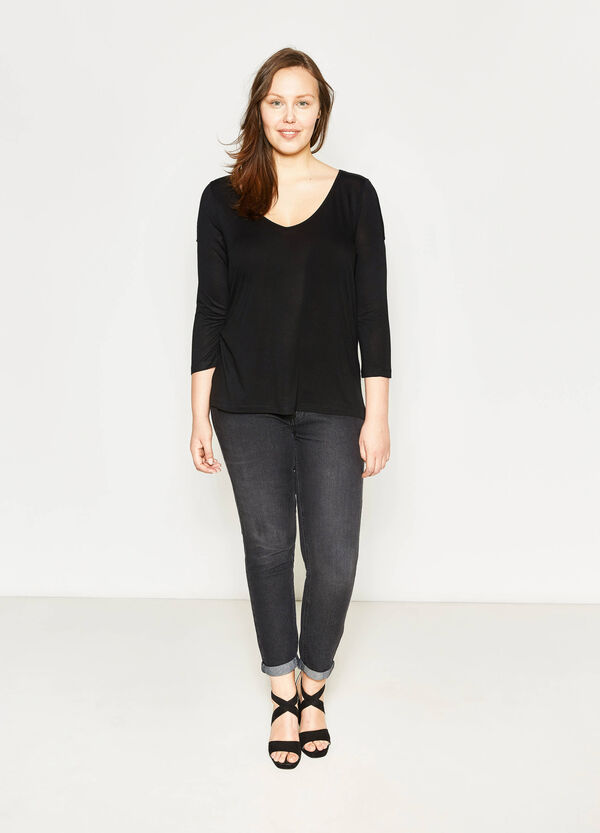 Curvy T-shirt with openings on the shoulders | OVS