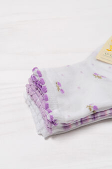 Three-pack stretch patterned socks, Lilac, hi-res