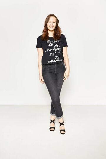 Curvy faded-effect stretch jeans, Black, hi-res