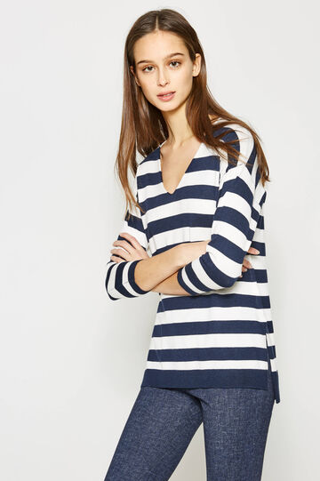 Pullover in viscose blend with striped pattern, White/Blue, hi-res