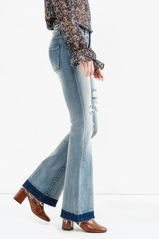 Flare-fit stretch jeans with faux belt, Medium Wash, hi-res