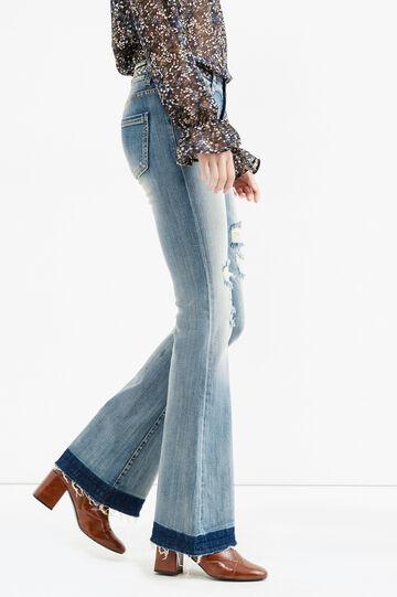 Jeans flare fit stretch con finta cintura, Lavaggio medio, hi-res