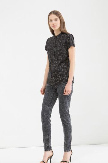 Stretch cotton blend patterned blouse, Black, hi-res
