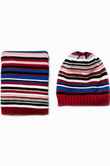 Striped hat and scarf set