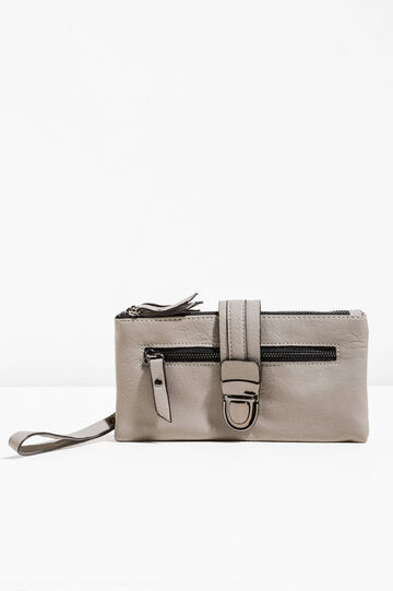 Textured-effect purse with clip, Grey, hi-res