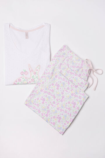 100% cotton printed pyjamas, Cream White, hi-res