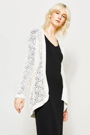 Knitted cardigan with ribbing