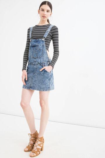 Nuanced-effect denim dungaree dress, Denim Blue, hi-res