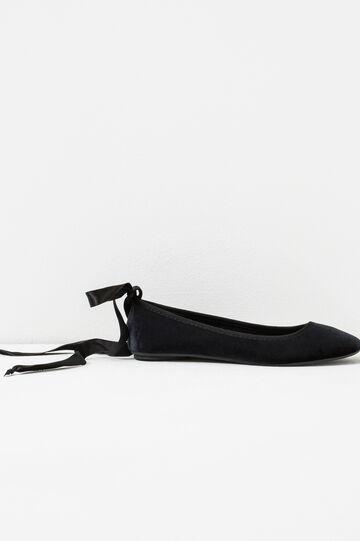 Velvet ballet shoes with ribbon, Black, hi-res