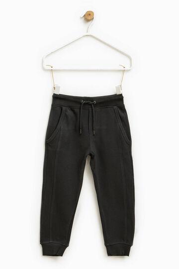 Pantaloni tuta trama micro quadri, Nero, hi-res