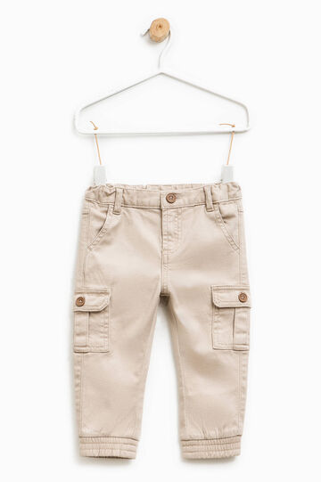 Stretch cotton trousers with pockets, Beige, hi-res