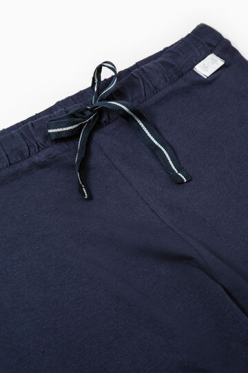 Pantaloni pigiama cotone tinta unita, Blu, hi-res