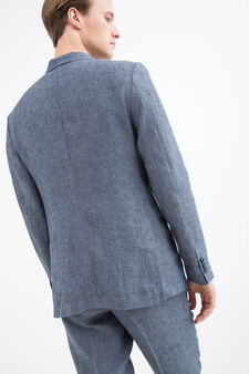 Slim-fit jacket in 100% linen, Soft Blue, hi-res