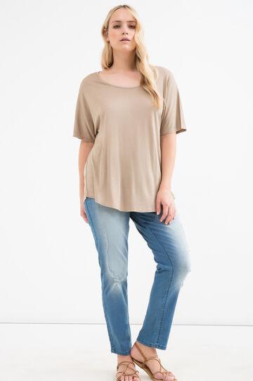 Curvy solid colour viscose T-shirt, Khaki, hi-res