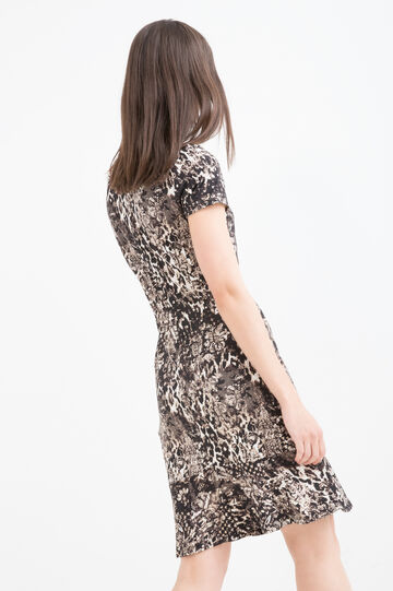 Stretch animal print dress, Brown, hi-res