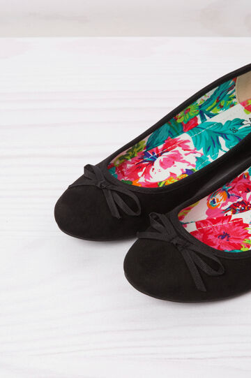 Ballerina flats with bow, Black, hi-res