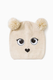 Beanie cap with pompom and patch, Grey, hi-res