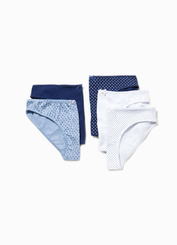 Five-pack solid colour and patterned cotton  briefs | OVS