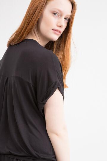 Curvy solid colour stretch dress, Black, hi-res