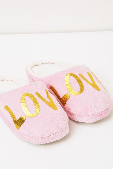Pantofole tinta unita con stampa, Rosa chiaro, hi-res