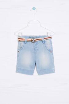 Bermuda di jeans con cinturino, Denim, hi-res