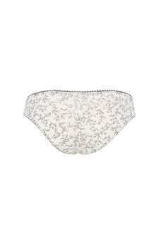 Lace briefs with floral pattern, White/Black, hi-res
