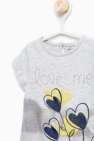 Camiseta elástica con abertura detrás, Gris jaspeado, hi-res