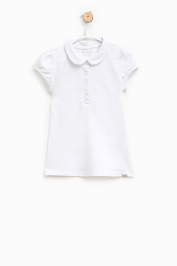 Polo shirt in cotton with puff sleeves