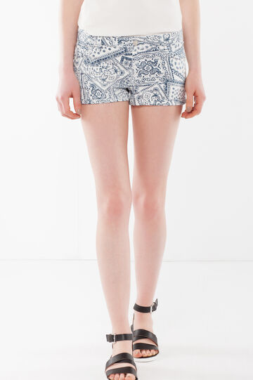 Tight shorts with cuffs, White/Blue, hi-res