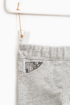 100% cotton trousers with sequins, Grey Marl, hi-res