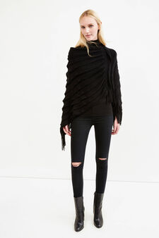 Solid colour flounced poncho with fringe, Black, hi-res