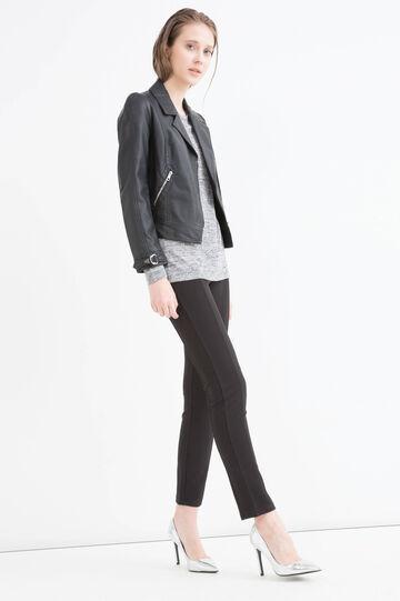 Viscose blend sweatshirt with insert., Black, hi-res