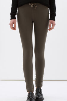 Stretch cotton blend leggings, Army Green, hi-res