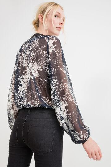 Blusa semitrasparente con borchie, Blu, hi-res