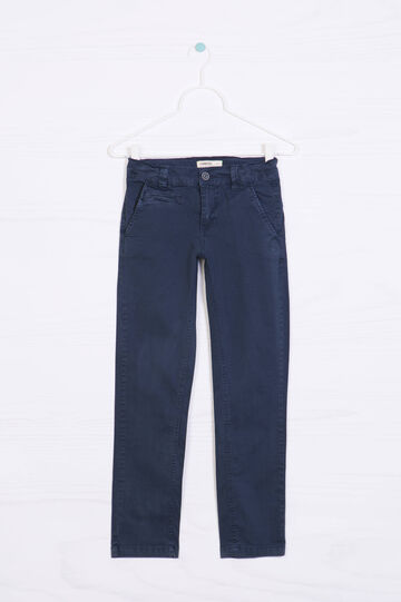 Pantaloni in cotone stretch, Blu navy, hi-res