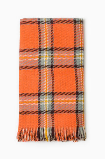 Tartan pattern scarf, Orange, hi-res