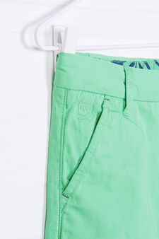 Solid colour 100% cotton Bermuda shorts, Green, hi-res