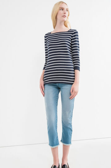 Striped pullover with three-quarter sleeves, White/Blue, hi-res