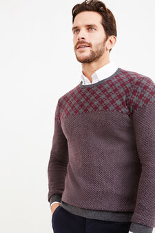 Rumford wool and cashmere pullover with pattern, Slate Grey, hi-res