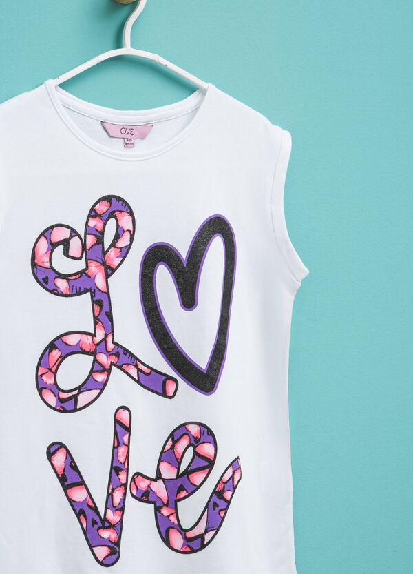 Camiseta de algodón con estampado con purpurina   OVS