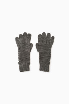 Solid colour knitted gloves, Grey Marl, hi-res