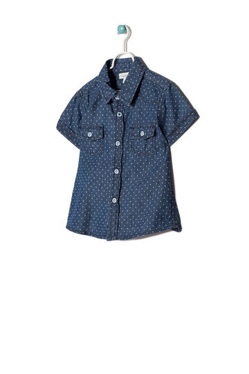 Camicia con stampa, Blu denim, hi-res