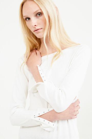 T-shirt con spacco ai polsi con borchie, Bianco, hi-res