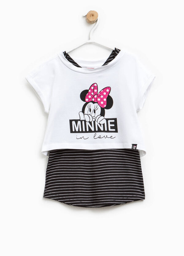 Minnie Mouse T-shirt with striped faux layering | OVS