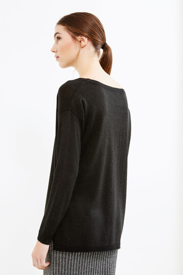 Long pullover with slits, Black, hi-res